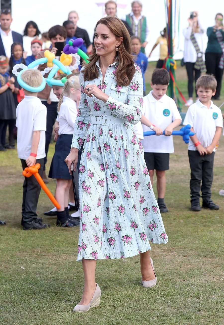 Kate Middleton (en Emilia Wickstead) au Festival Back to Nature à Woking le 10 septembre 2019