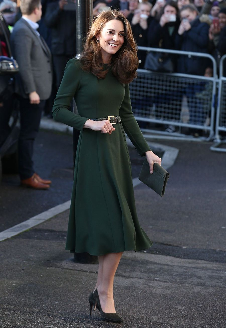 Kate Middleton (en Beulah London) en visite pour l'association Family Action à Lewisham le 22 janvier 2019