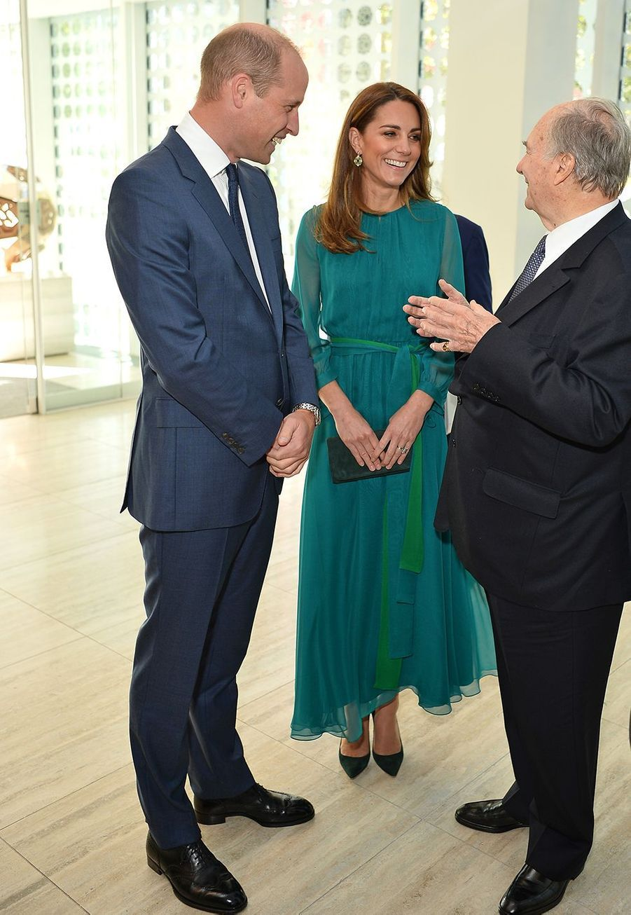 Kate Middleton (en ARoss Girl x Soler) rencontre l'Aga Khan avec William à Londres le 2 octobre 2019