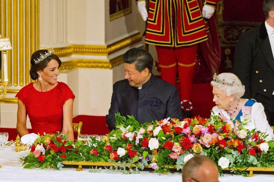 La duchesse de Cambridge, née Kate Middleton, lors du banquet en l'honneur du président chinois Xi Jinping, le 20 octobre 2015