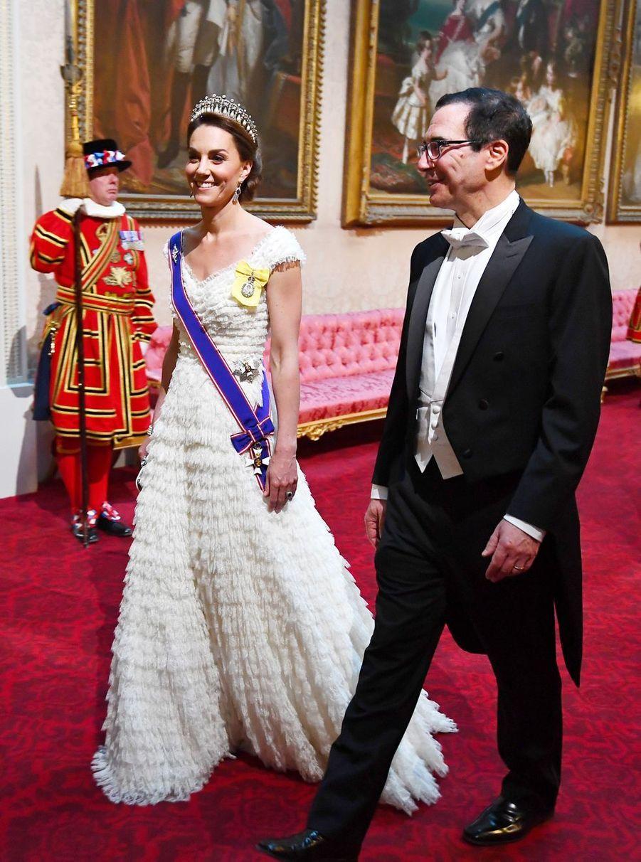 Kate Middleton et Steve Mnuchin au palais de Buckingham, le 3 juin 2019