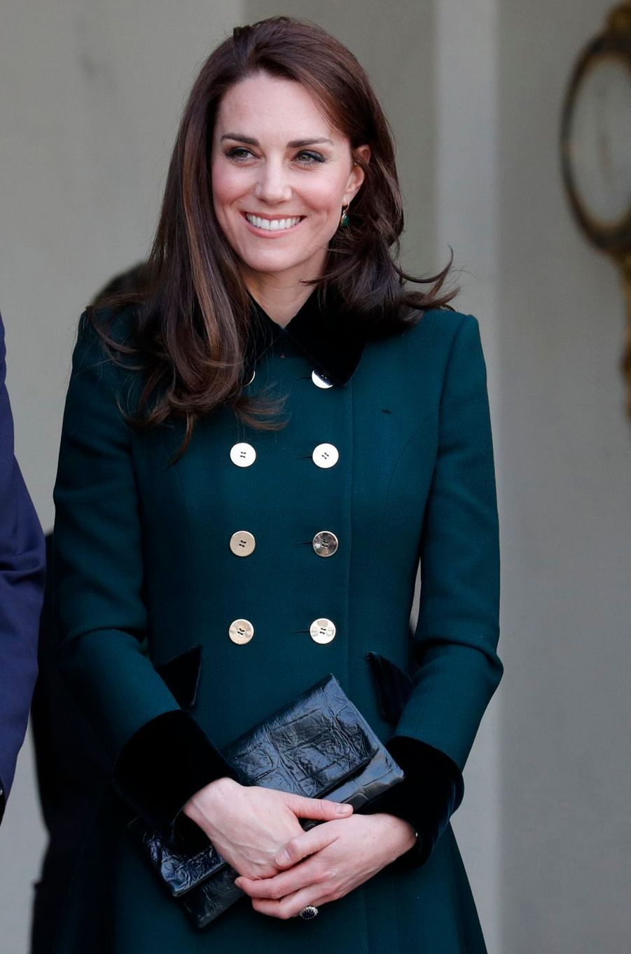 La duchesse de Cambridge, née Kate Middleton, en Catherine Walker à Paris le 17 mars 2017