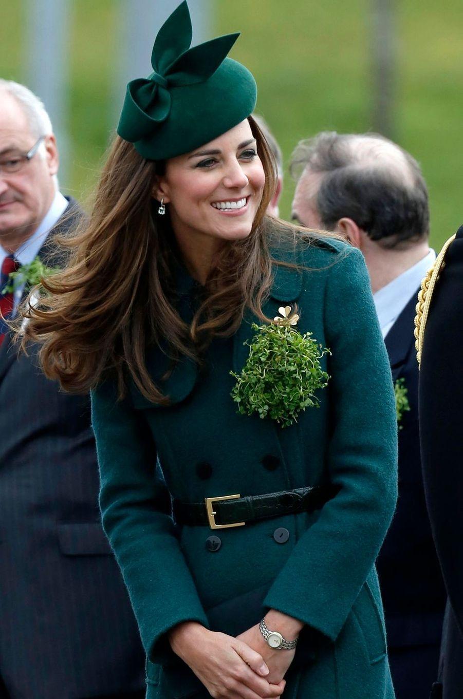 La duchesse Catherine de Cambridge porte une montre Tissot, le 17 mars 2014