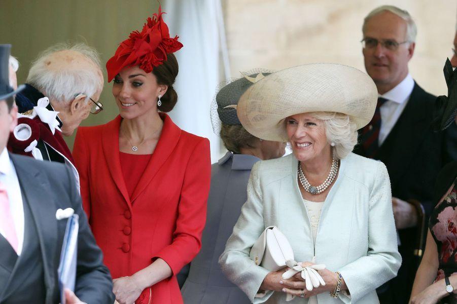 La duchesse Catherine de Cambridge et la duchesse de Cornouailles Camilla à Windsor, le 13 juin 2016