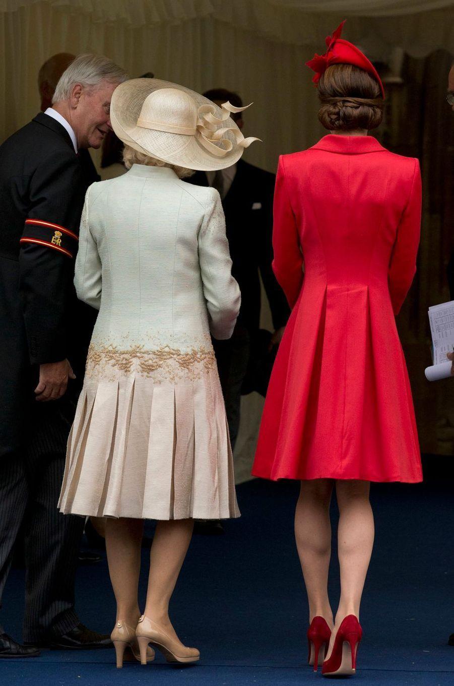 La duchesse de Cornouailles Camilla et la duchesse Catherine de Cambridge à Windsor, le 13 juin 2016
