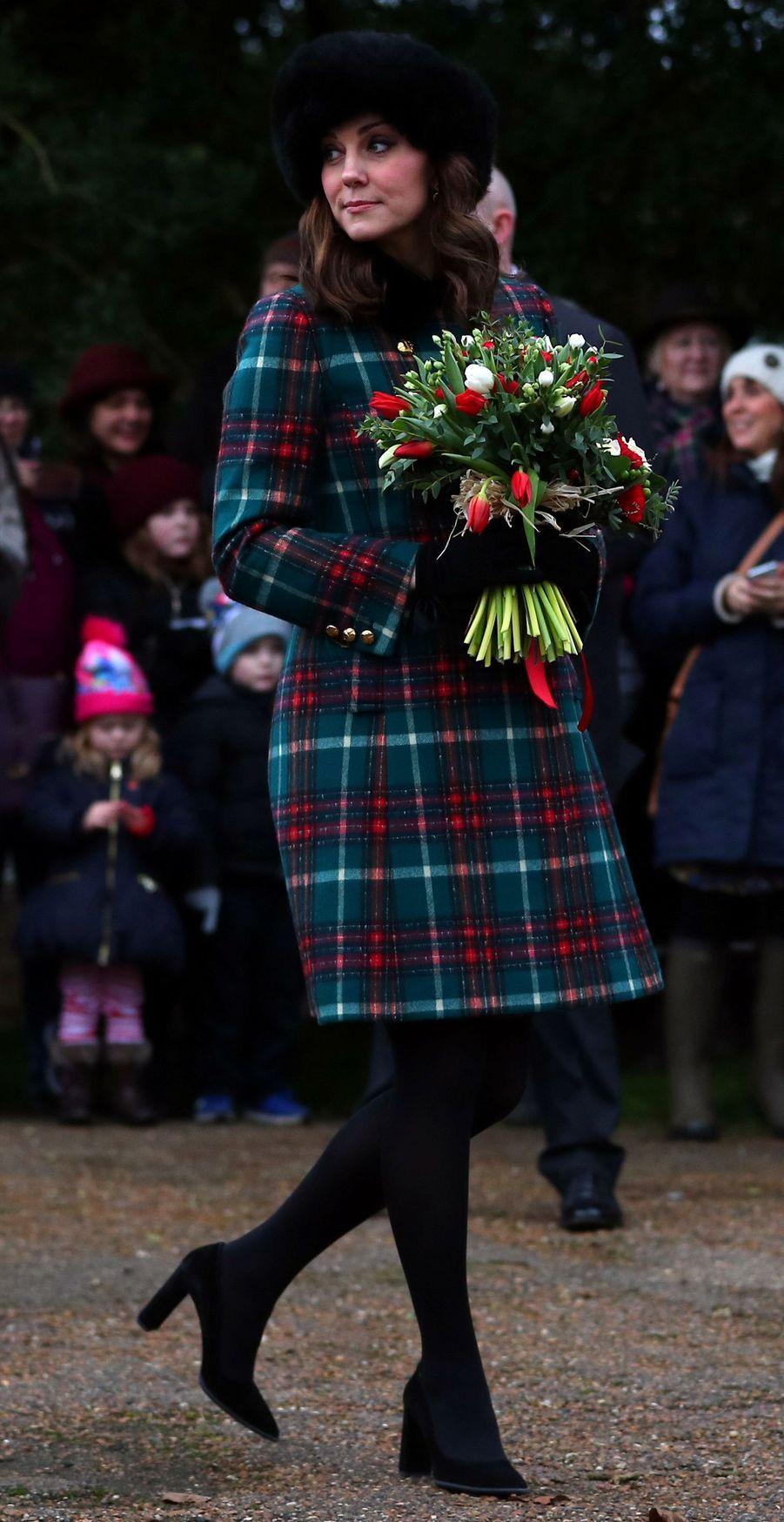 La duchesse Catherine de Cambridge en Miu Miu, le 25 décembre 2017