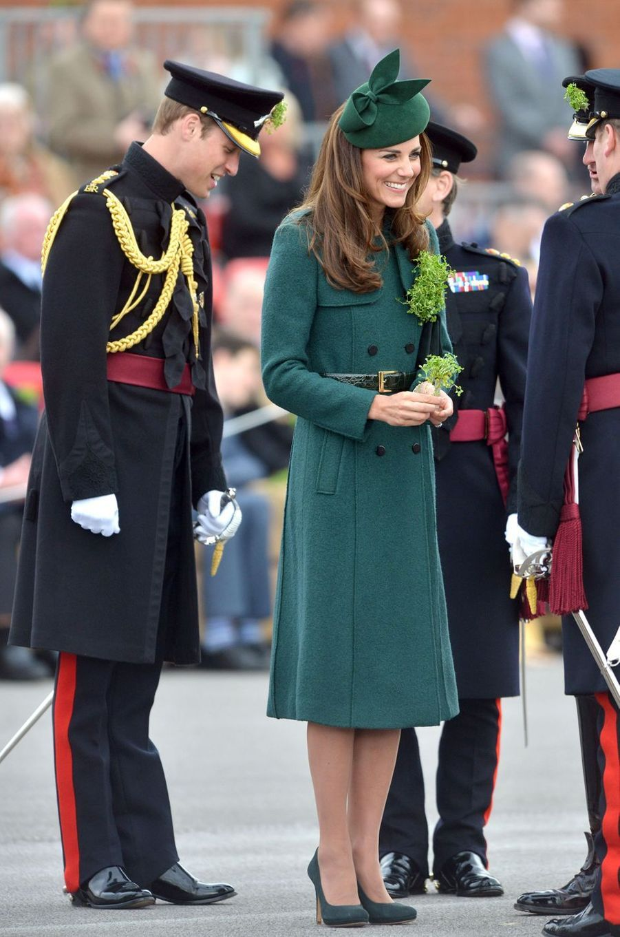 La duchesse de Cambridge, née Kate Middleton, pour la St Patrick à Aldershot, le 17 mars 2014