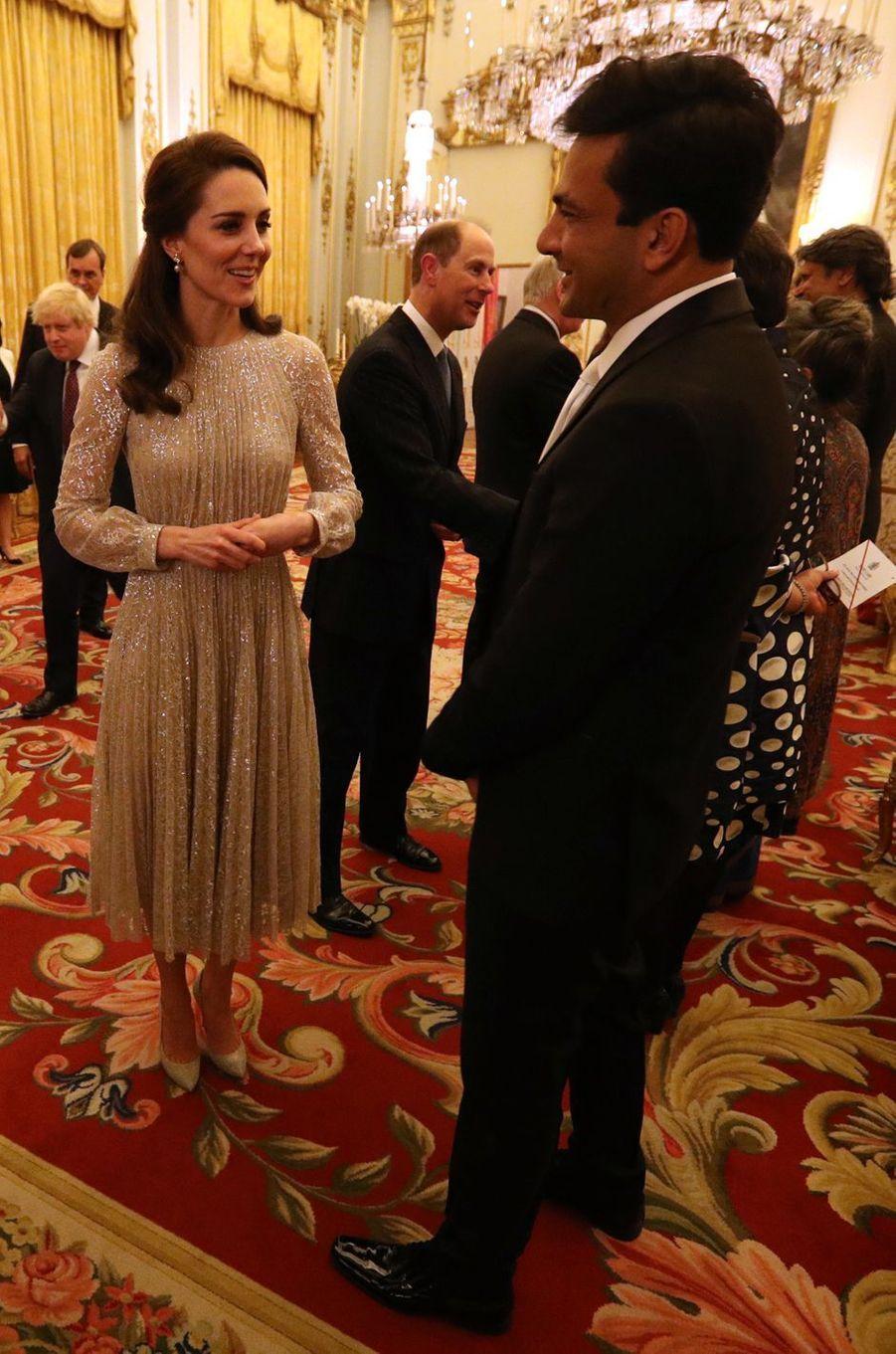 La duchesse Catherine de Cambridge et le prince Edward au Palais de Buckingham à Londres, le 27 février 2017