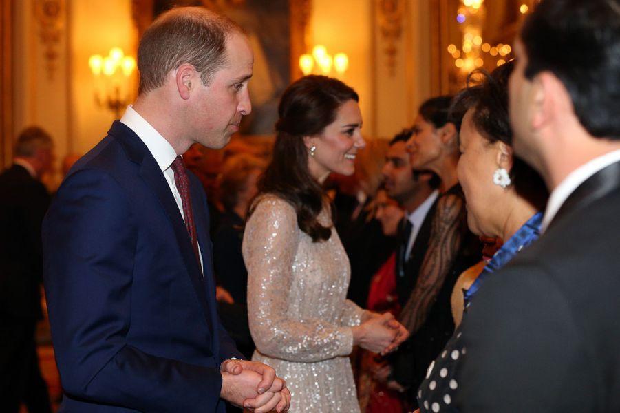 La duchesse Catherine de Cambridge et le prince William au Palais de Buckingham à Londres, le 27 février 2017