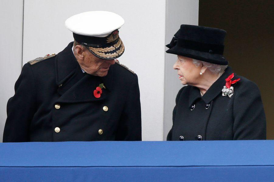 La reine Elizabeth II et le prince Philip à Londres, le 12 novembre 2017