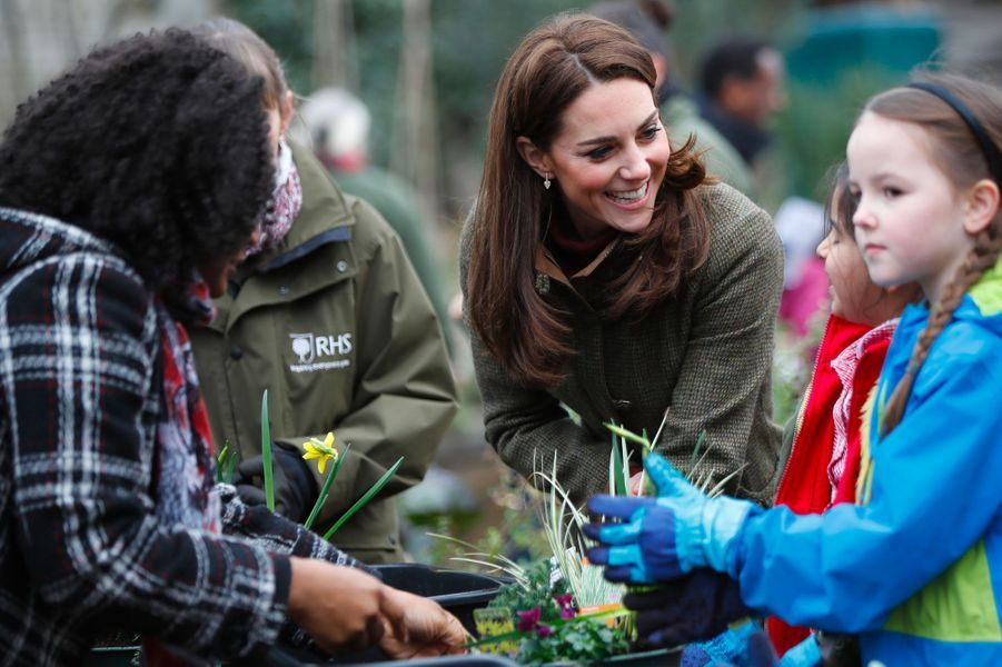 Kate visite le 15 janvier 2019 King Henry's Walk Garden, un jardin communautaire situé à Islington, au nord de Londres.