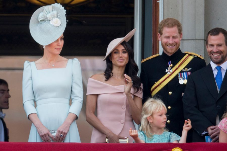 Kate Middleton et Meghan Markle avec le prince Harry à Londres, le 9 juin 2018