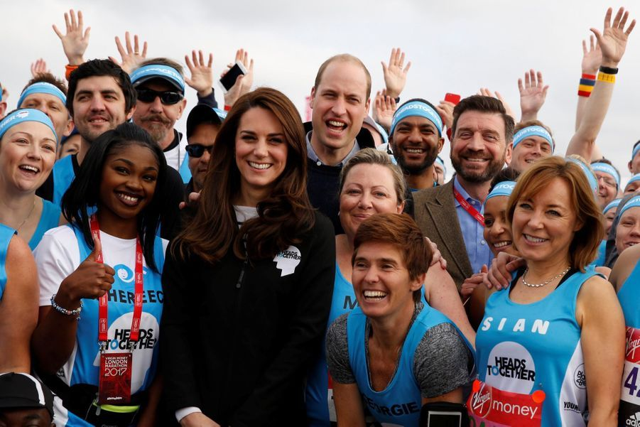 Kate Middleton, Les Princes William Et Harry Au Marathon De Londres, Dimanche 23 Avril 2017 14