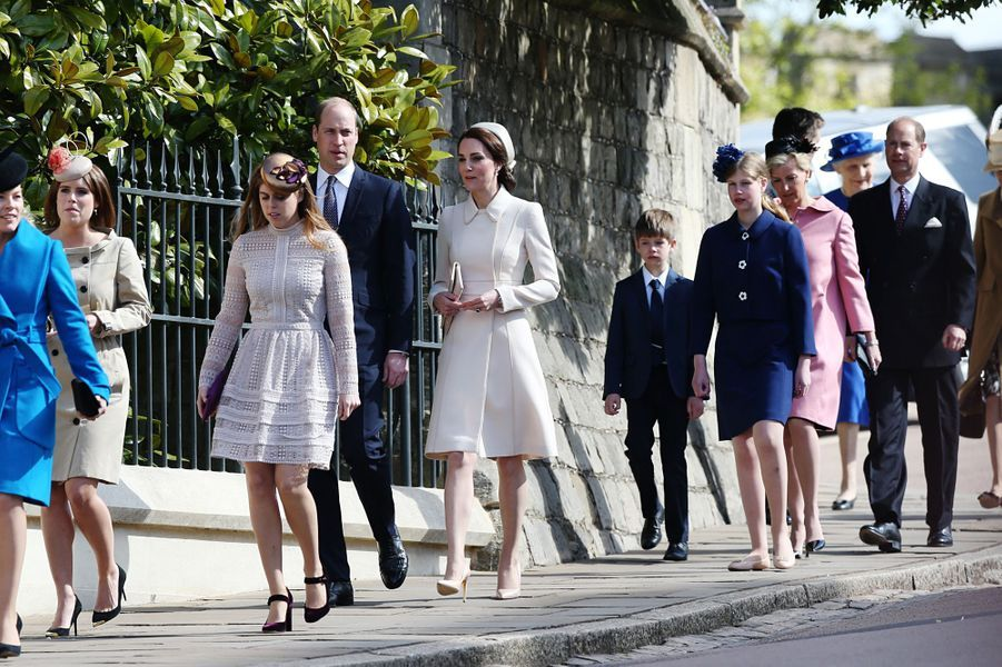 La duchesse de Cambridge, née Kate Middleton, Autumn Phillips, la princesse Eugenie et la princesse Beatrice à Windsor, le 16 avril 2017.