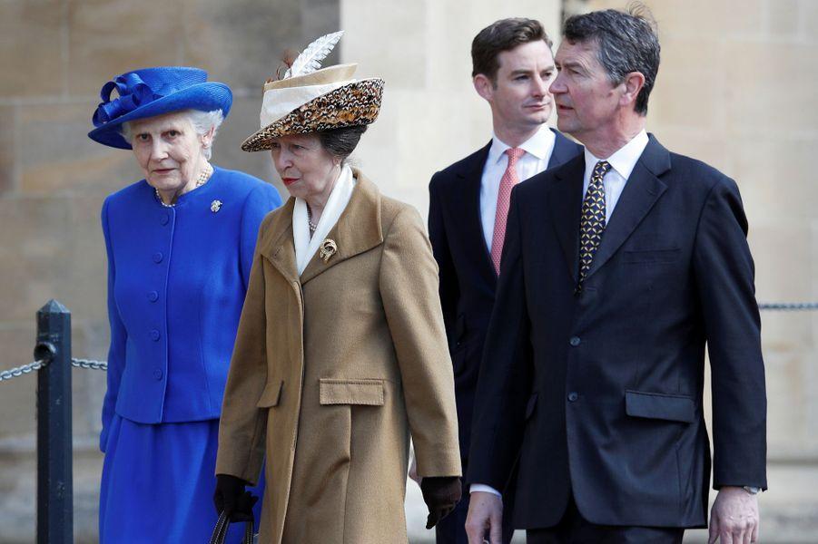 La princesse Anne et son mari Sir Timothy Laurenceà Windsor, le 16 avril 2017.