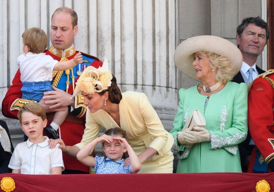 Le prince George de Cambridge en famille pour la parade Trooping the Color. Juin 2019.