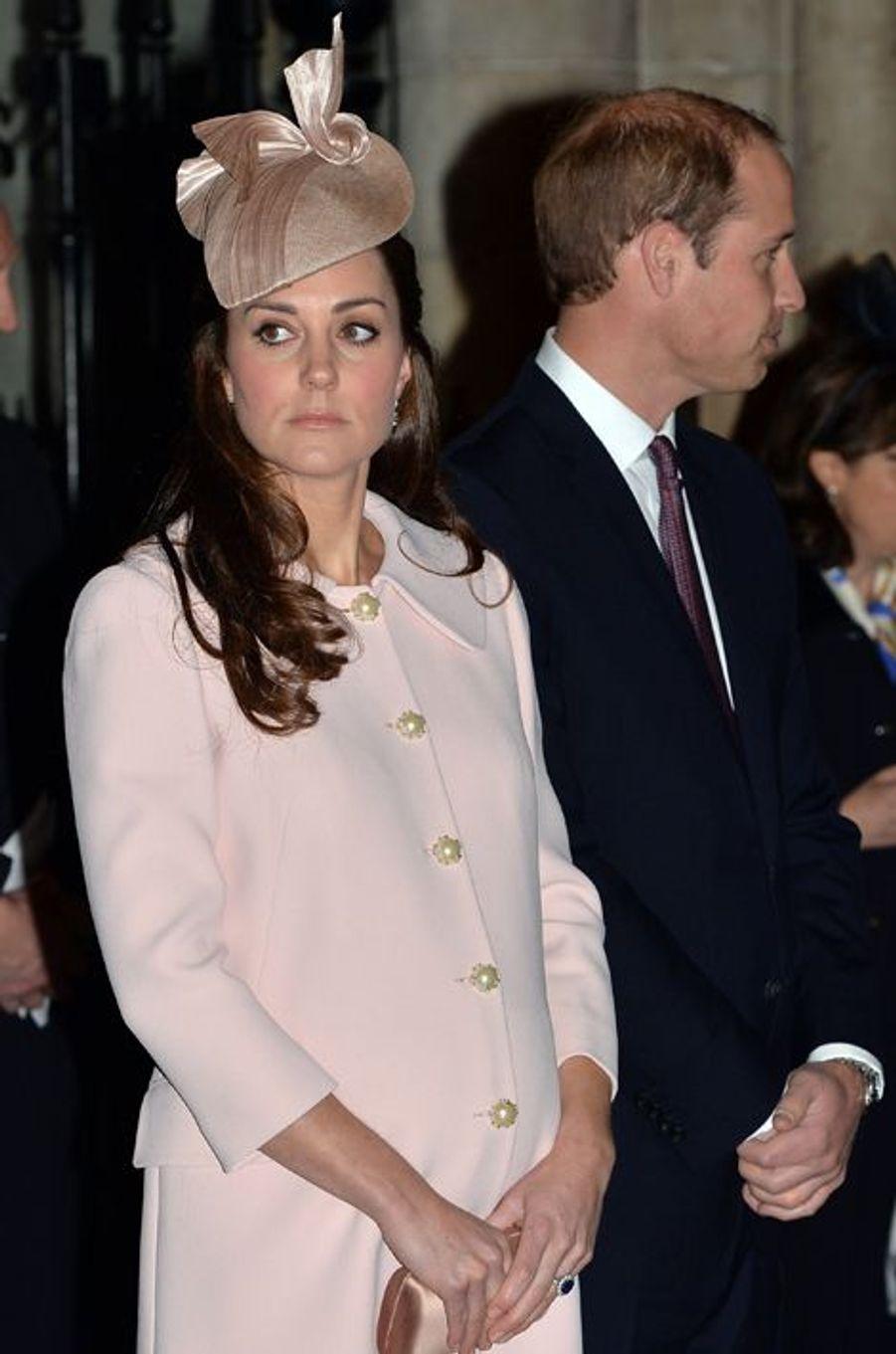 Le prince William et Kate à l'abbaye de Westminster à Londres, le 9 mars 2015