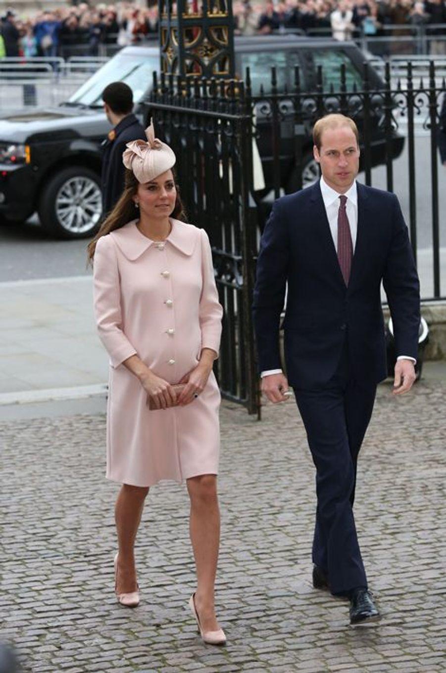 Le prince William et Kate arrivent à l'abbaye de Westminster à Londres pour le Commonwealth Observance service, le 9 mars 2015