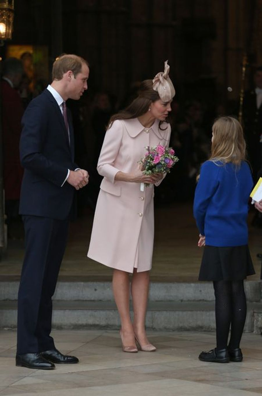 Le prince William et Kate quittent l'abbaye de Westminster à Londres, le 9 mars 2015