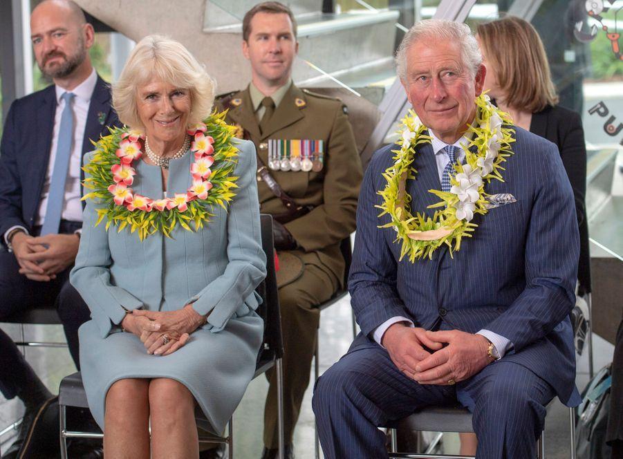 La duchesse de Cornouailles Camilla avec le prince Charles, le 18 novembre 2019 en Nouvelle-Zélande