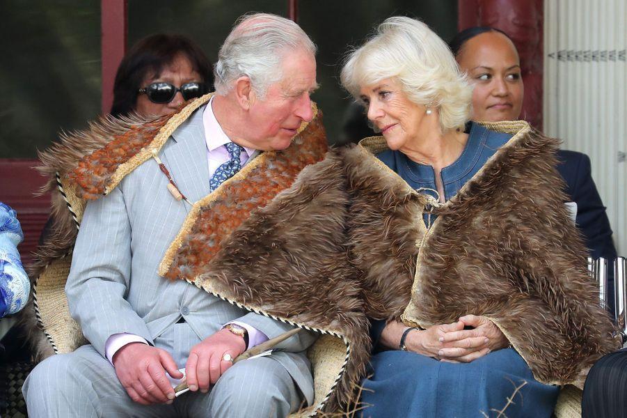 La duchesse de Cornouailles Camilla avec le prince Charles en Nouvelle-Zélande, le 20 novembre 2019