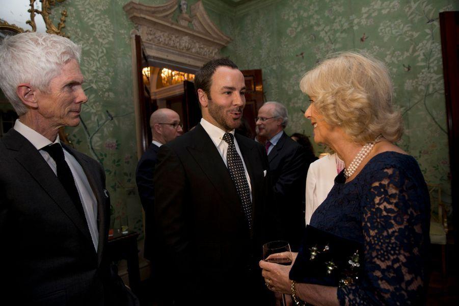 Camilla Parker-Bowles à une réception à la résidence de l'ambassadeur des Etats-Unis à Londres, le 9 mars 2015
