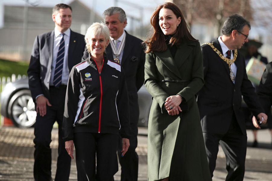 La duchesse Catherine de Cambrige avec Judy Murray à Edimbourg, le 24 février 2016