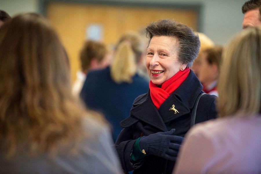 La princesse Anne, le 16 mars 2020 à Addington dans le Buckinghamhire