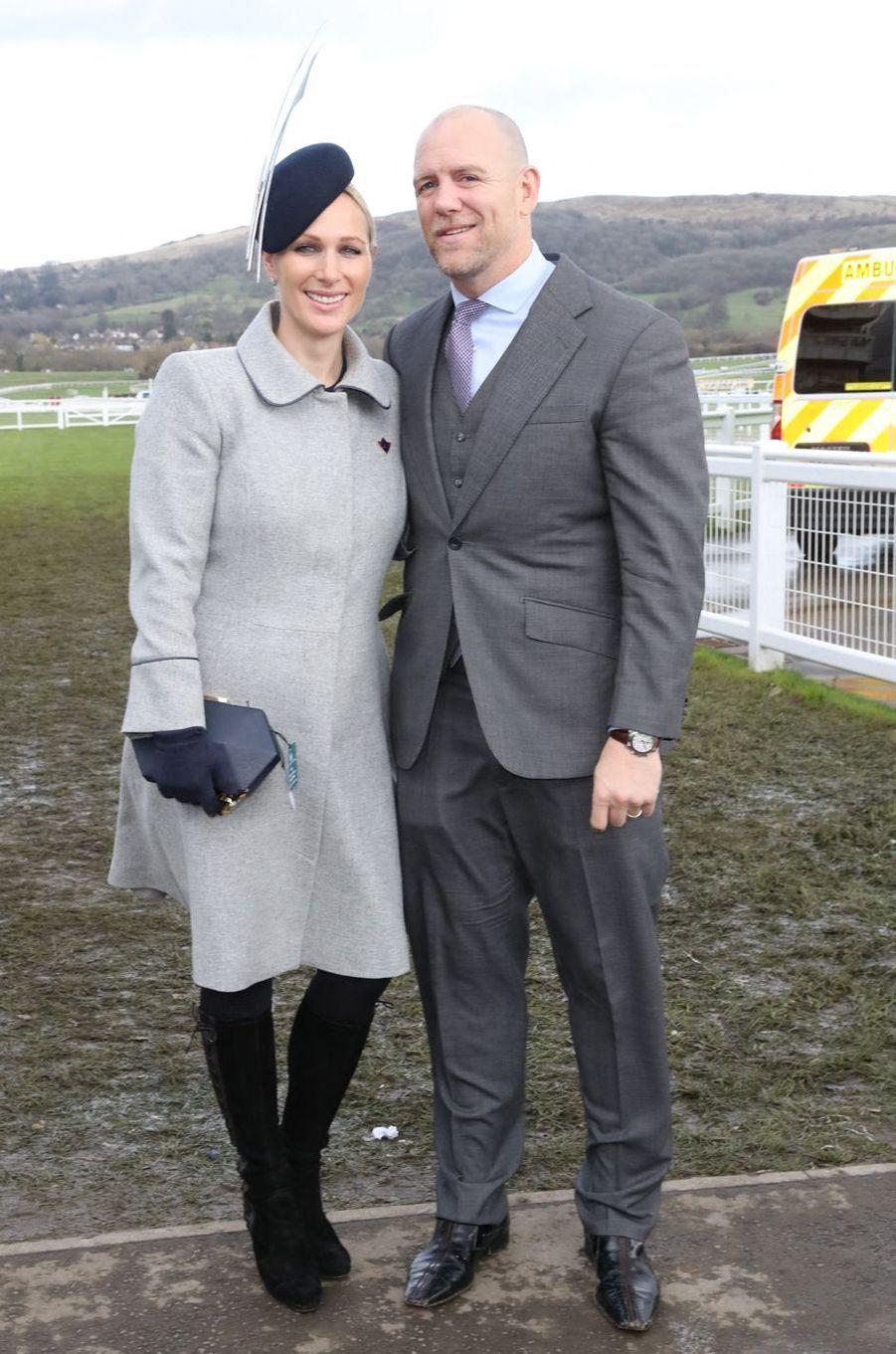 Zara Phillips et son mari Mike Tindall au Cheltenham Festival, le 14 mars 2019