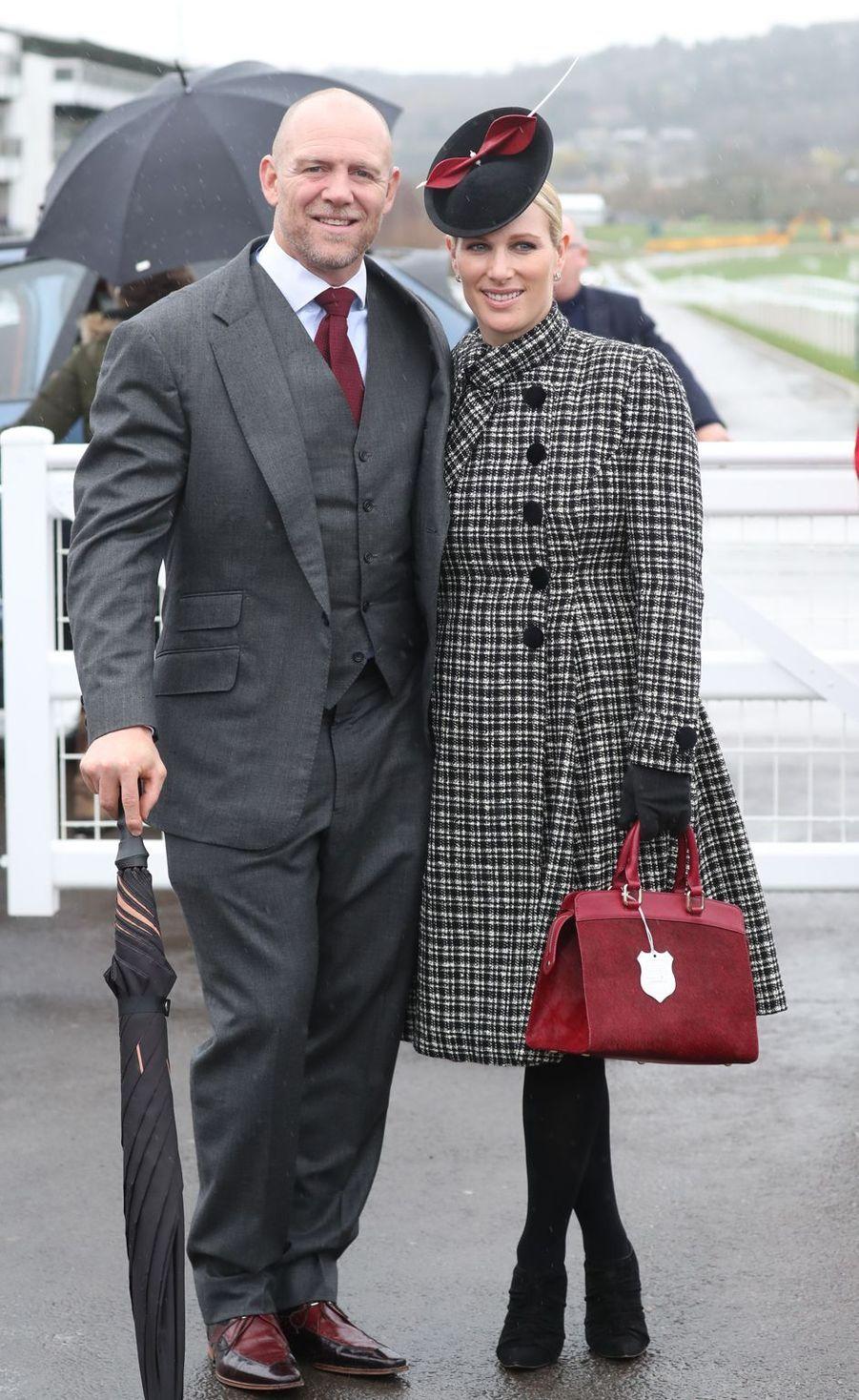 Zara Phillips et son mari Mike Tindall au Cheltenham Festival, le 15 mars 2019