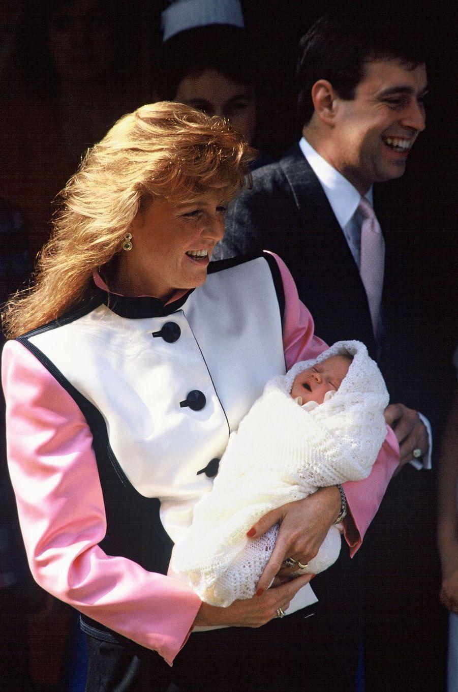 La princesse Eugenie d'York avec ses parents, le 30 mars 1990