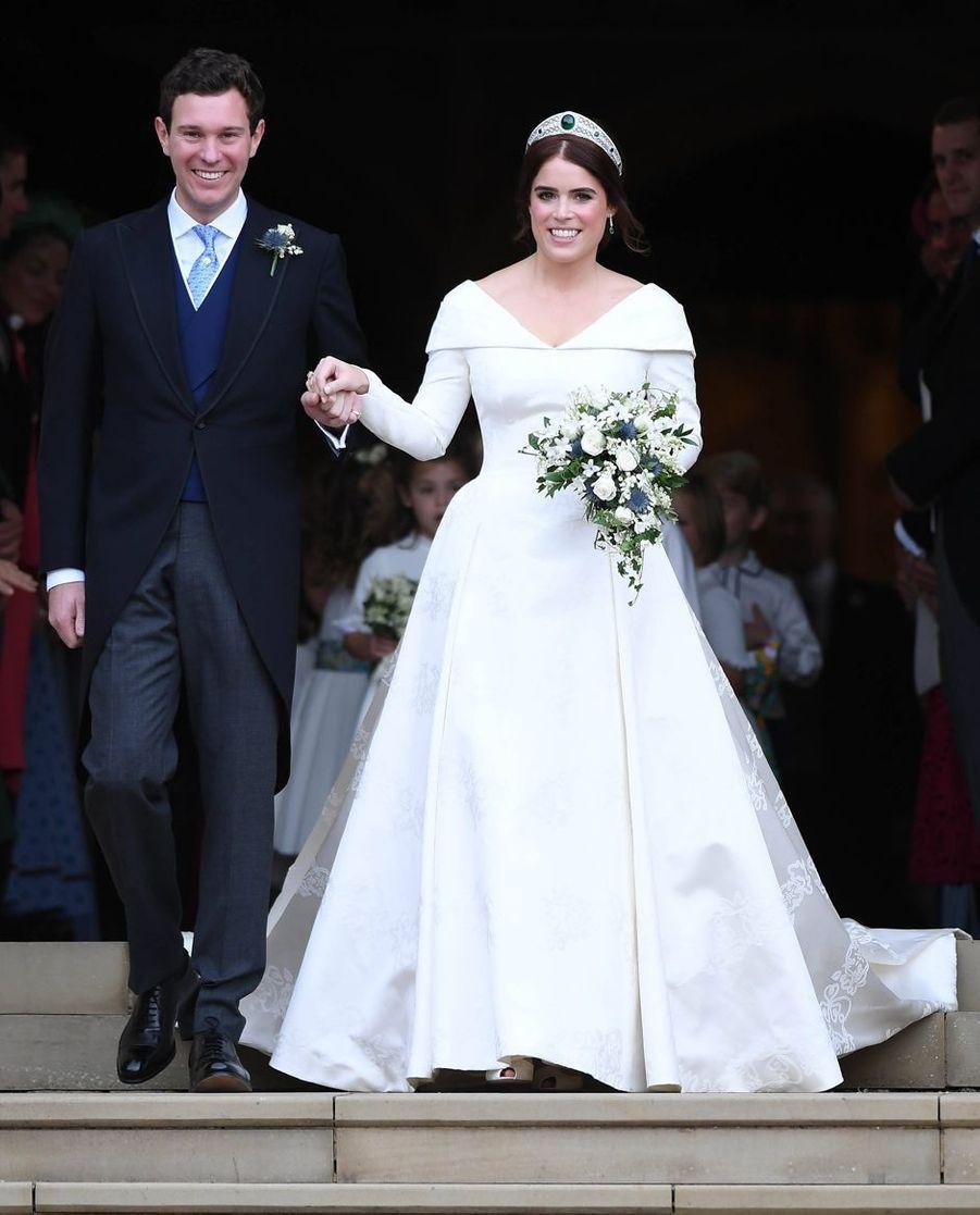 La princesse Eugenie d'York et son mari Jack Brooksbank, le jour de leurs noces, le 12 octobre 2018