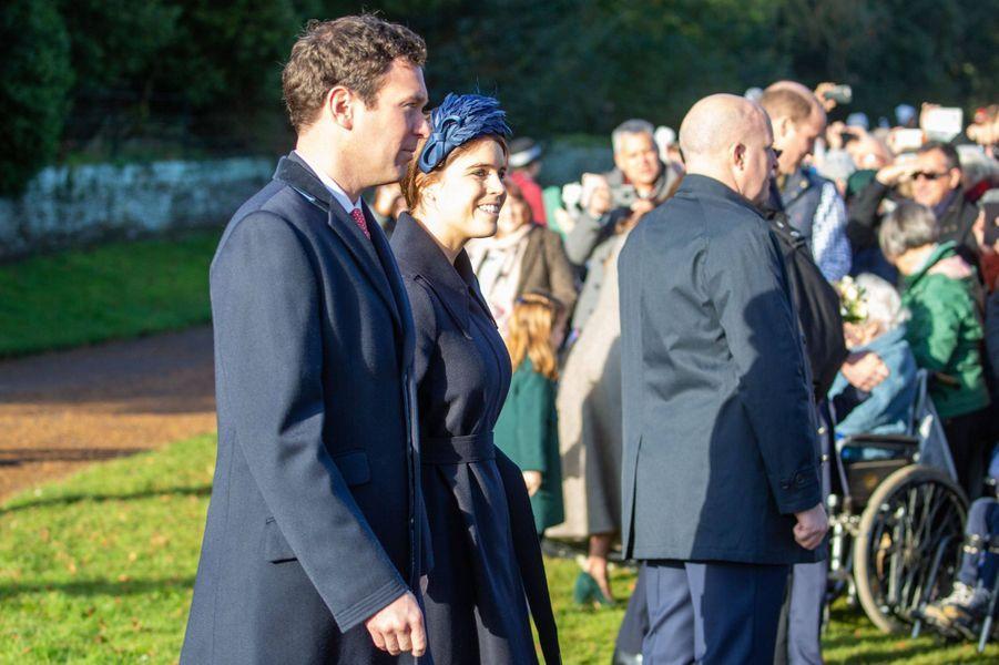 La princesse Eugenie d'York avec son mari Jack Brooksbank, le 25 décembre 2019