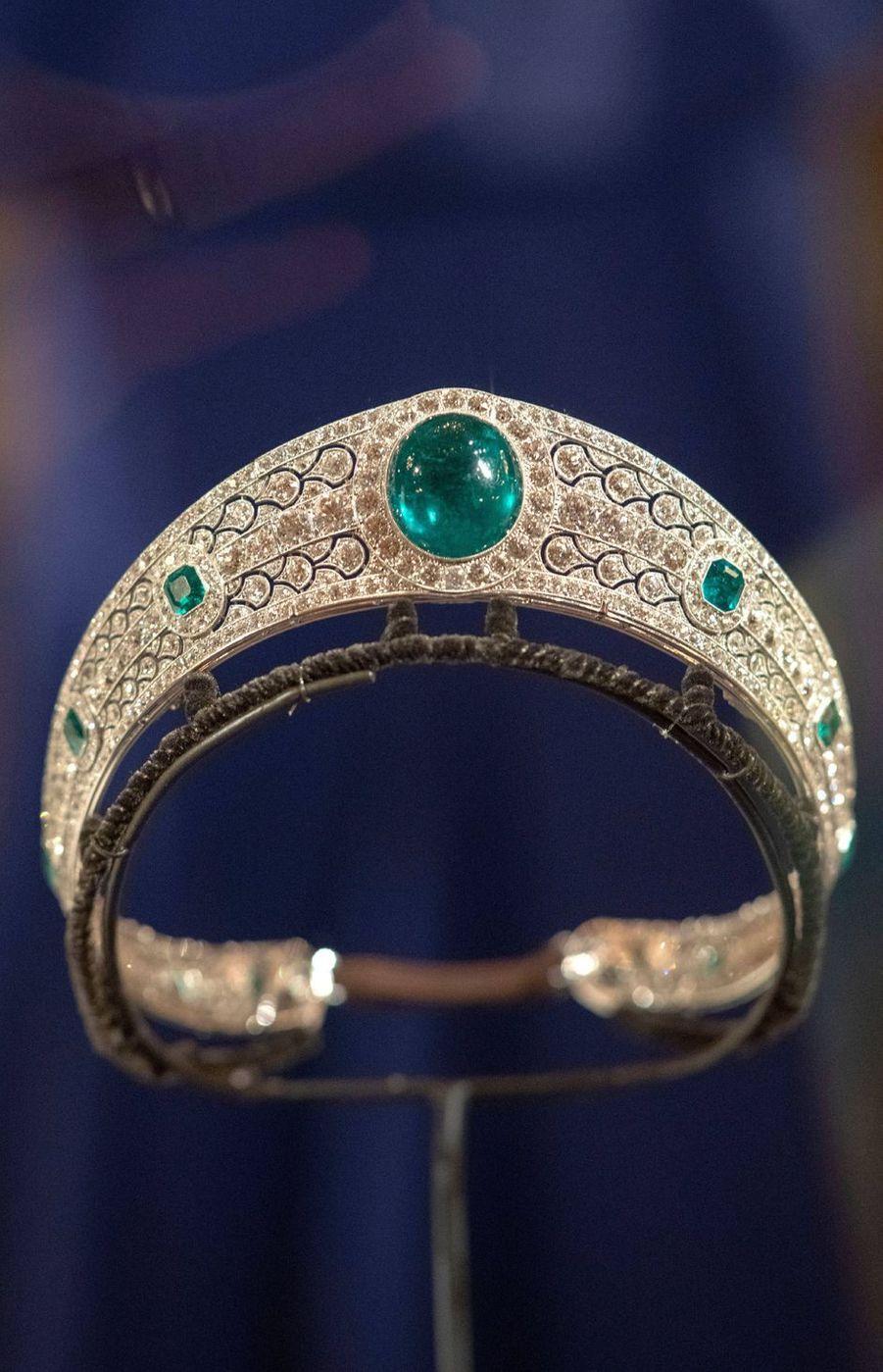 Le diadème porté par la princesse Eugenie d'York à son mariage, exposé à Windsor le 28 février 2019