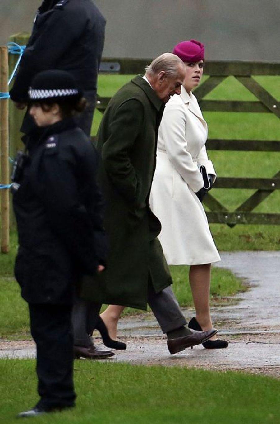 La princesse Eugenie d'York et le prince Philip à Sandringham, le 24 janvier 2016