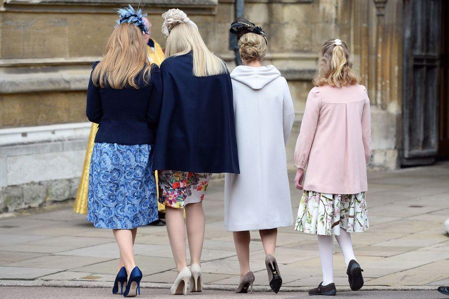 Beatrice d'York, Autumn Phillips, Sophie de Wessex et sa fille Louise à Windsor, le 5 avril 2015