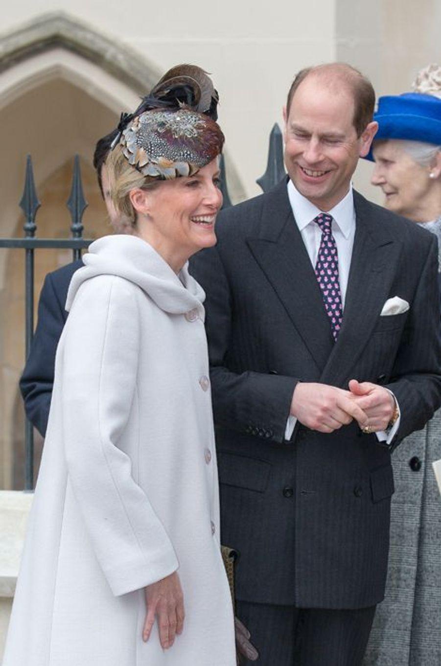 Le prince Edward et Sophie de Wessex à Windsor, le 5 avril 2015