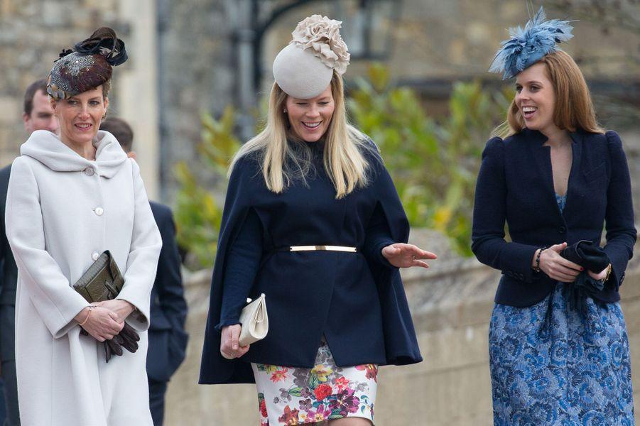 Sophie de Wessex, Autumn Phillips et Beatrice d'York à Windsor, le 5 avril 2015