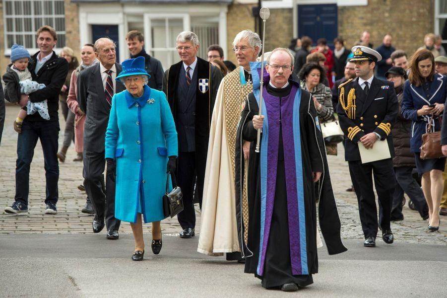 La reine Elizabeth II avec le duc d'Edimbourg à Canterbury, le 26 mars 2015