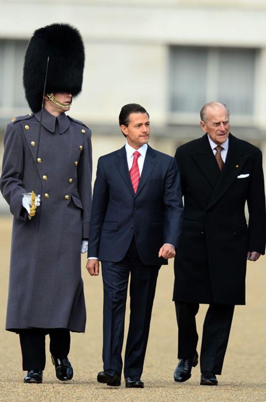 Le duc d'Edimbourg et Enrique Pena Nieto à Londres, le 3 mars 2015