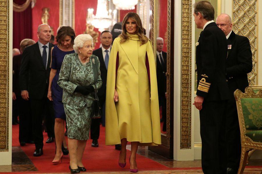 La reine Elizabeth II avec Melania Trump à Londres, le 3 décembre 2019