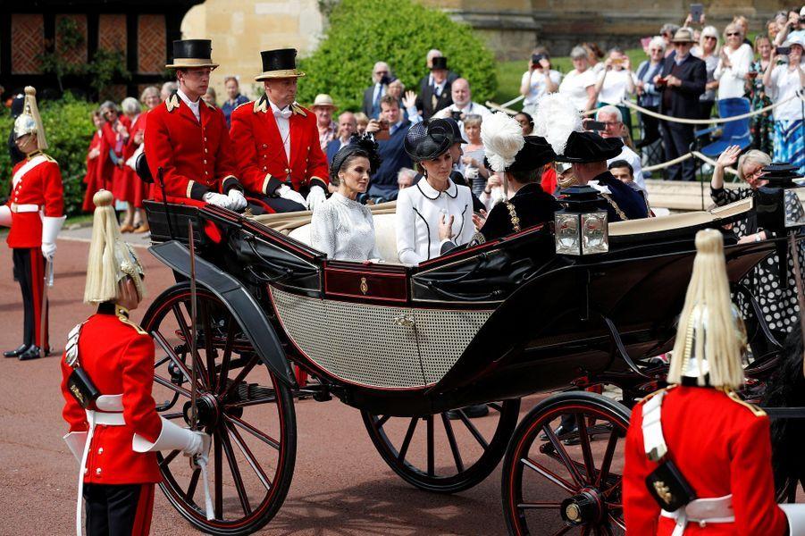 La reine Letizia et le roi Felipe VI d'Espagne avec le prince William et Kate Middleton à Windsor, le 17 juin 2019