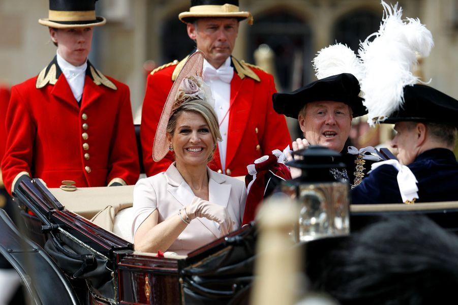 La reine Maxima et le roi Willem-Alexander des Pays-Bas à Windsor, le 17 juin 2019