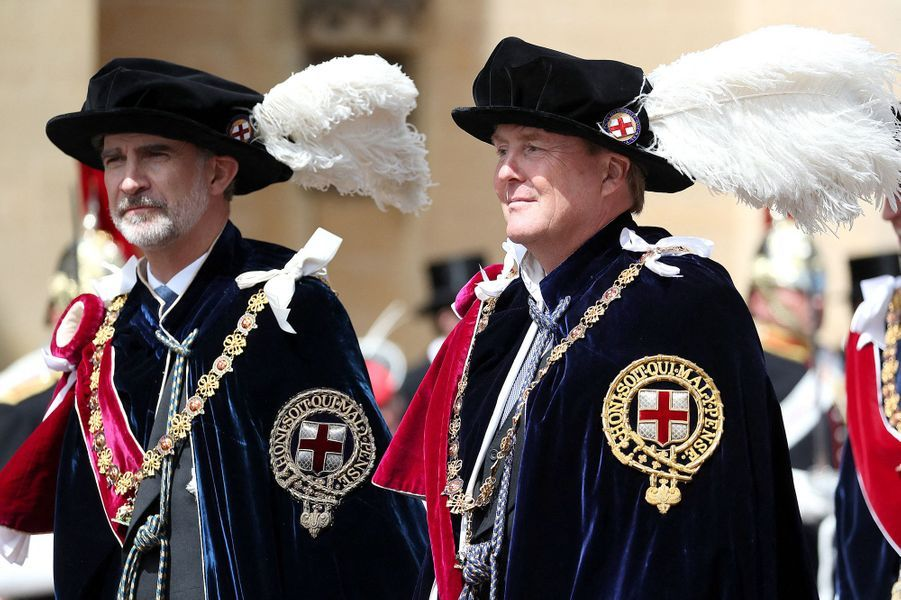 Les rois Felipe VI d'Espagne et Willem-Alexander des Pays-Bas à Windsor, le 17 juin 2019