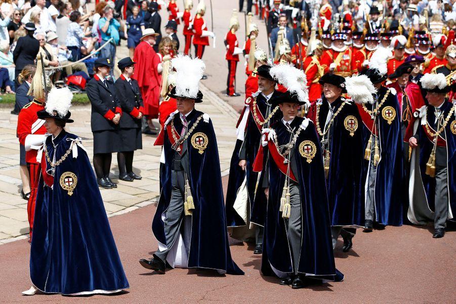 La princesse Anne et les princes Andrew et Edward avec les rois Felipe VI d'Espagne et Willem-Alexander des Pays-Bas à Windsor, le 17 juin 2019