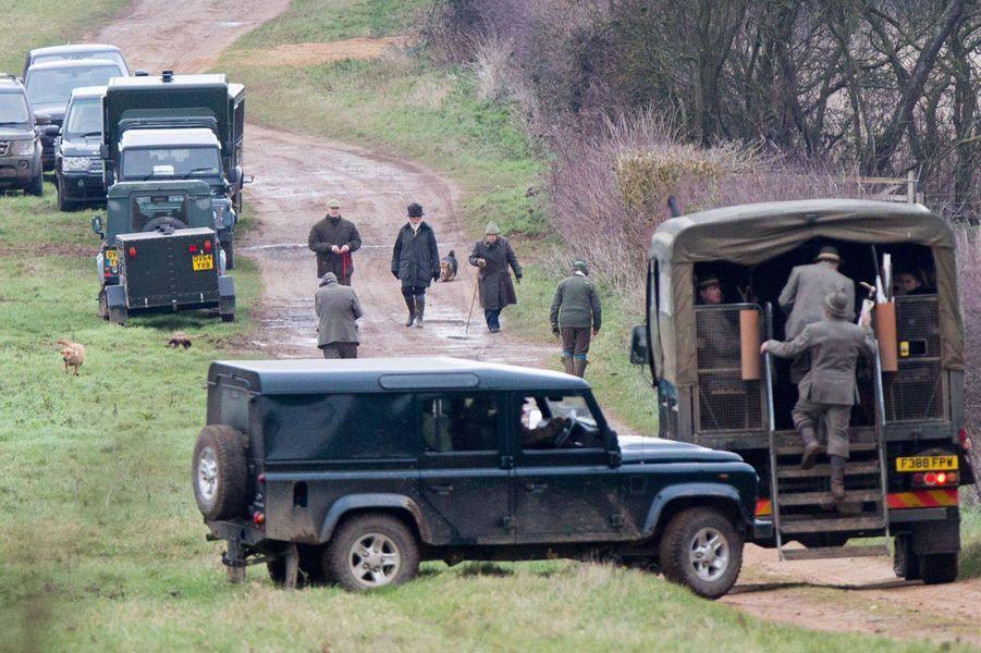 La reine Elizabeth II à une partie de chasse à Sandringham, le 25 janvier 2019