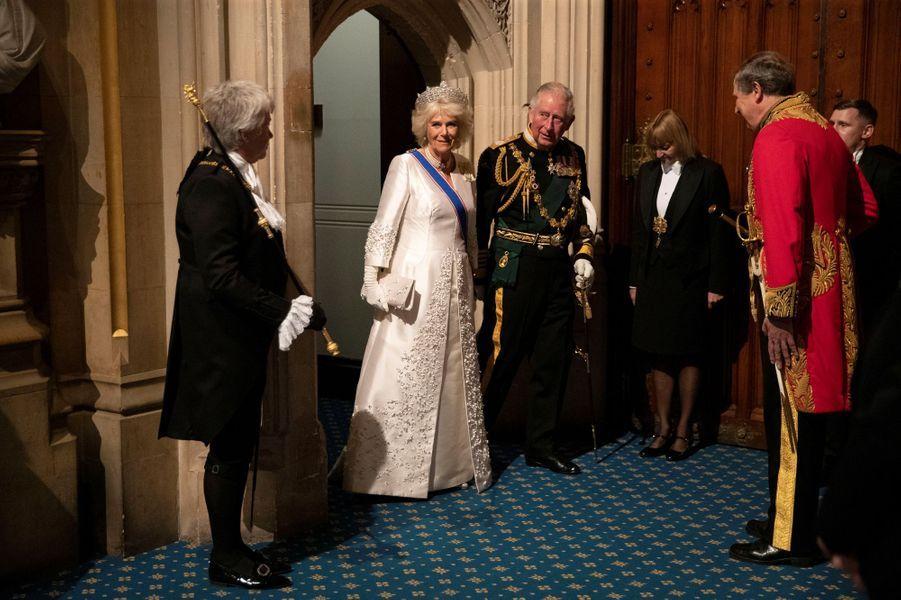 La duchesse de Cornouailles Camilla et le prince Charles à Londres, le 14 octobre 2019