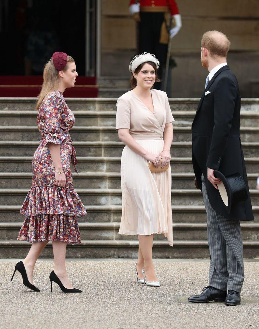 Les princesses Eugenie et Beatrice d'York et le prince Harry à Londres, le 29 mai 2019