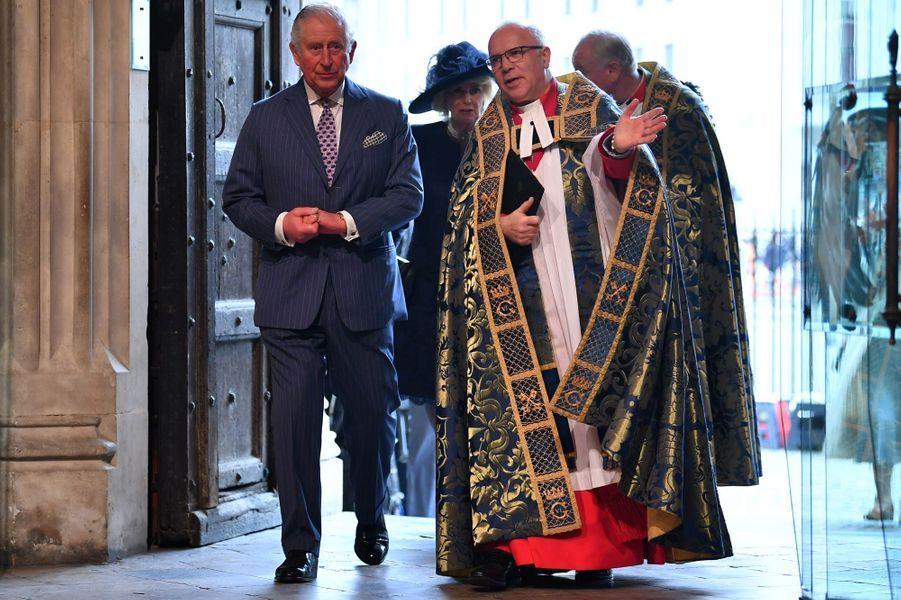 Le prince Charles et la duchesse de Cornouailles Camilla à l'Abbaye de Westminster à Londres, le 9 mars 2020