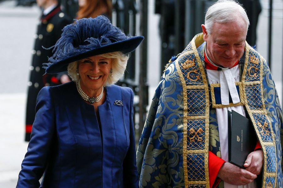 La duchesse de Cornouailles Camilla à l'Abbaye de Westminster à Londres, le 9 mars 2020